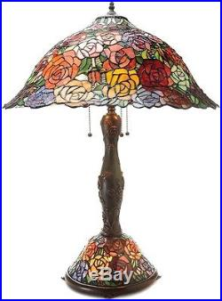 Tiffany Style Table Lamp Stained Glass Desk Roses Mission Craftsman Victorian