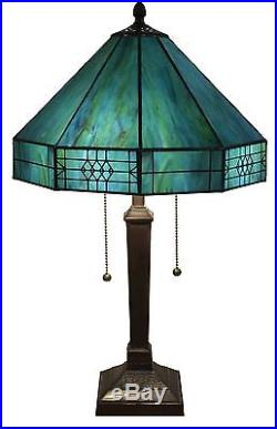 Tiffany Style Table Lamp Stained Glass Turquoise Mission Craftsman Victorian