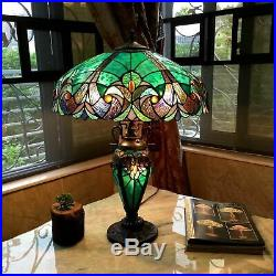 Tiffany Style Table Lamp Stained Glass Vintage Victorian Nightstand Office Desk