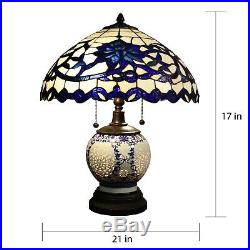 Tiffany Style Table Lamp Stained White Glass Shade Metal Bronze Finish