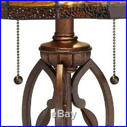Tiffany Style Table Lamp Traditional Bronze Leaf and Vine Glass for Living Room