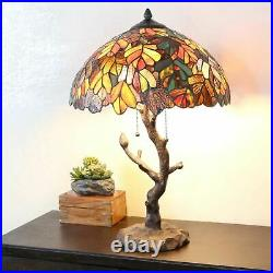 Tiffany Style Table Lamp Tree Reading Desk Accent Stained Glass Lamp 25 High