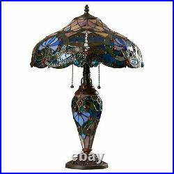 Tiffany Style Table Lamp Victorian Brown Blue Dragonfly Stained Glass Shade 24H