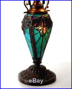 Tiffany Style Table Lamp with Vibrant Blue Green Handcrafted Cut Glass