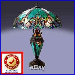 Tiffany Style Table Lamp with Vibrant Blue Green Handcrafted Cut Glass Victorian
