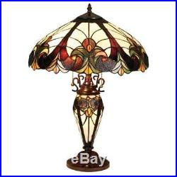 Tiffany Style Traditional Victorian 3 Light Table Lamp Brown Stained Glass Shade