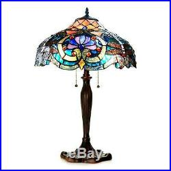 Tiffany Style Victorian Dragonfly 2 light Table Lamp Blue Amber Stained Glass