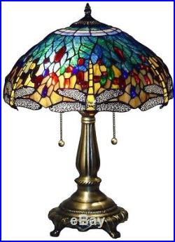 Tiffany Table Lamp Bronze Handcrafted Stained Glass Shades Blue Dragonfly 25 in