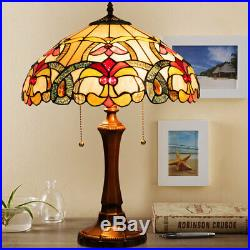Tiffany Table Lamp Stained Glass Shade withResin Base Circular Arc Reading Light
