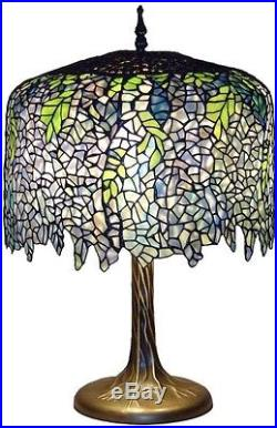 Tiffany Wisteria 27 in Bronze Table Lamp, Tree Trunk Base Stunning Stained Glass
