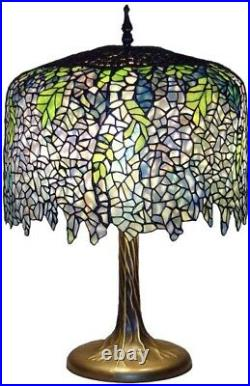 Tiffany Wisteria Table Lamp 27 in. Bronze Tree Trunk Base Handcrafted Hand Cut