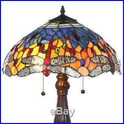 Tiffany red dragonfly 25 in. Bronze table lamp glass stained light style shade