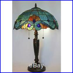 Tiffany style 25 in. Blue vintage table lamp glass shade stained light bell