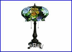 Tiffany style Maxenne Roses Table Lamp vintage antique 2 light stain glass Blue