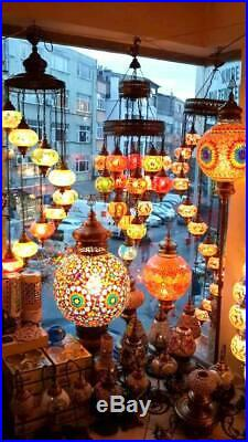 Turkish Moroccan Mosaic 7 Lamp Handmade Floor Lamps Hanging Glass Light Room Big