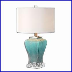 Turquoise Aqua Silver Contemporary Table Lamp Art Glass Modern