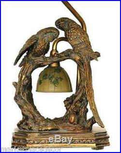Twin Parrots Bird Table Lamp With Nite Light Unique Charming Bronze Finish 25H