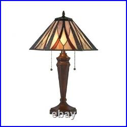 Two Light Geometric Table Lamp Tiffany Mission Style Table Lamp Tiffany