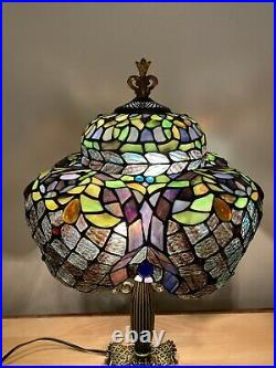 Unusual Tiffany Style Stained Glass Lamp