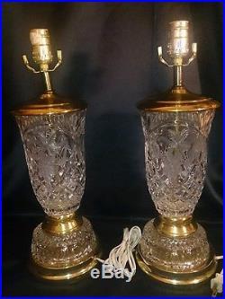 VINTAGE 18 PAIR Crystal Clear Industries Cut Glass Prism Hollywood Regency Lamp