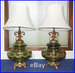 VINTAGE 1970s GREEN CARNIVAL GLASS GLOBE BRASS BASE LAMPS, MATCHING PAIR, EF IND