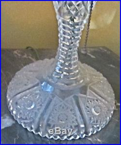 VINTAGE ANTIQUE LATE 19th CENTURY MUSHROOM CUT GLASS TABLE LAMP WITH PRISMS