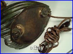 VINTAGE ATTRIBUTED TO GUSTAV GURSCHNER BRONZE MERMAID LAMP WithIRIDESCENT GLASS