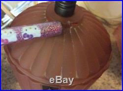 VINTAGE Glass Art Deco Lamp Light Bullet Boudoir Bed Vanity Satin Pink Torpedo