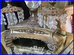 VINTAGE L&L WMC 1968 Hollywood Regency LampBRASSDIAMOND GLASSCRYSTAL
