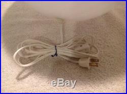 VINTAGE MAESTRI MURANO LARGE 17 WHITE SWIRL GLASS EGG LAMP 1970's ORIGINAL NICE