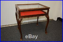 VINTAGE walnut & Glass display case jewelry traditional side end lamp table
