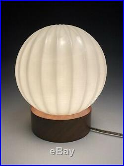 VIntage Mid Century Modern Scandinavian Teak & Glass Table Laurel Style Lamp