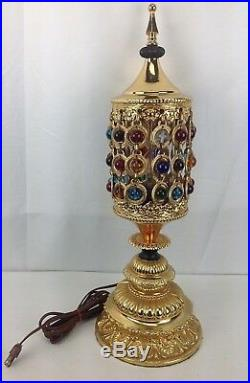 VTG Mid Century Ornate Gold Metal Glass Bead Waterfall Hollywood Table Lamp