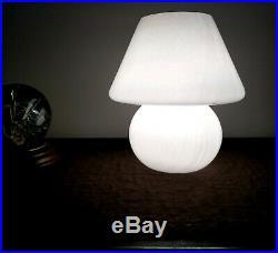VTG VENINI MUSHROOM MURANO FOR LAUREL GLASS LAMP MCM WHITE SWIRL OPAQUE 60s 70s