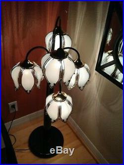 VTGWaterfall 5 LampFlower LOTUS PetalsRETROGlass Table/Floor Lamp40 High