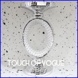 Venetian Silver Pearl Mirror Glass Side Table Lamp Diamante Stand Romany Italian