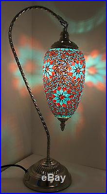 Very Large Turkish Lamp LED With Multi Coloured Glass Moroccan Table