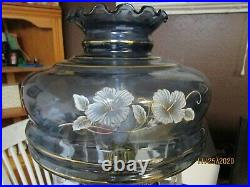 Very Large Vintage Hurricane Lamp Clear Blue Glass With Crystal Prisms 25Tall