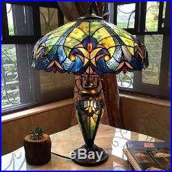 Vibrant Color Double Lit 26 H Blue Table Lamp Stained Glass Light Lamps NEW