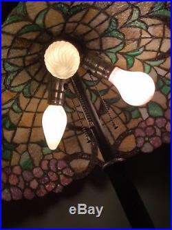 Victorian Leaded Stained Glass Table Lamp