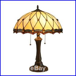Victorian Stained Glass Table Lamp Tiffany Style Shade 16.5W