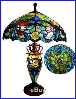 Victorian Stained Glass Table Lamp Tiffany Style Shade Double Lit