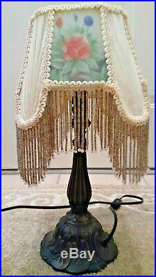 Victorian Table Lamp with Rectangle Shade Frosted Floral Glass Beaded Fringe