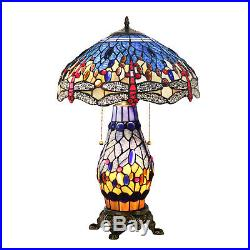 Victorian Tiffany Lamp 3 Light Double Lit Stained Glass Table Bedside Lamp Decor