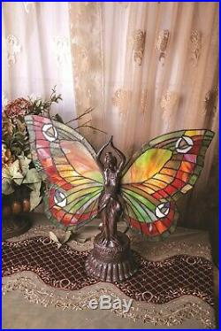 Victorian Trading Co Butterfly Stained Glass Table Lamp