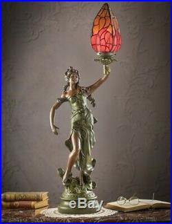 Victorian Trading Co Greek Muse Tiffany Style Stained Glass Table Lamp