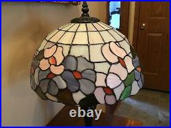 Vintage 18 Floral Stained Glass Table Lamp