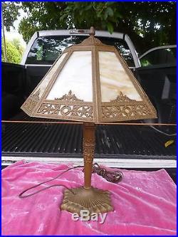 Vintage 1920's 8 Sided Slag Glass Table Lamp