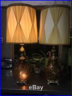 Vintage 1970's Pair of Amber Glass Lamps With Nightlight Awesome Shades