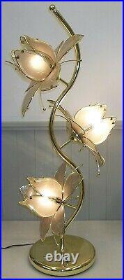 Vintage 1980s Retro Brass & Pink Glass Lotus Flowers 3-Way Light 40 Tall Lamp